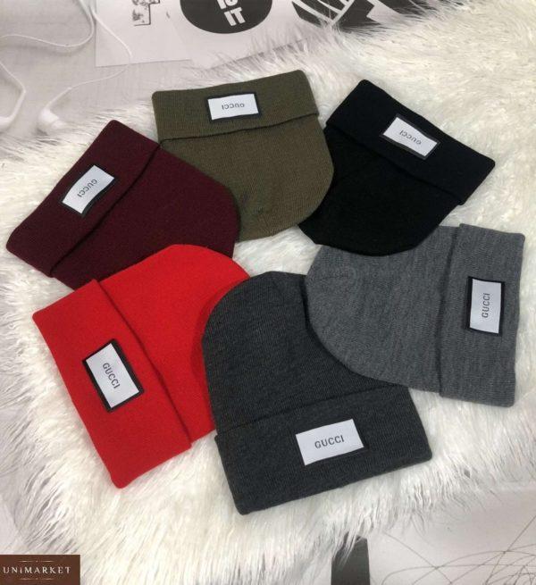 Заказать разных цветов женскую и мужскую шапку с надписью Gucci недорого