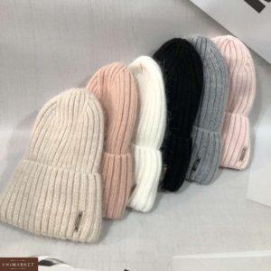 Купить женскую однотонную вытянутую шапку лопатка рубчик цвета беж, белую, черную, пудра недорого