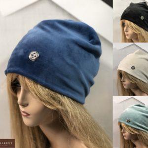 Заказать женскую шапку онлайн из двойного велюра Chanel синюю, черную, беж, голубую