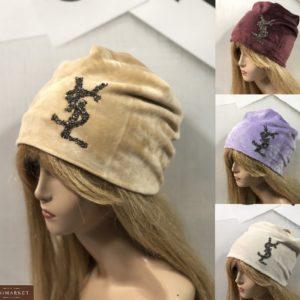 Заказать женскую шапку из двойного велюра YSL бордо, беж, пудра, сирень онлайн