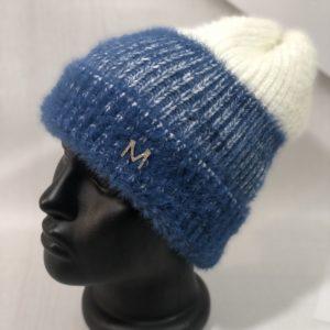 Заказать синюю женскую двухцветную шапку из ангоры травка онлайн