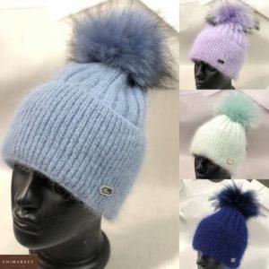 Заказать по скидке шапку рубчик с отворотом и пушистым помпоном для женщин голубую, сирень, бирюзовую, синюю