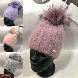 Купить женскую пушистую шапку онлайн рубчик с помпоном пудра, фиолет, персик, серый