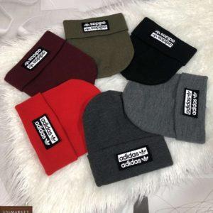 Купить по скидке женскую и мужскую шапку с надписью Adidas разных цветов