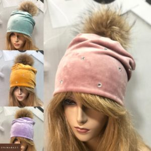 Приобрести пудра, горчица, сирень, голубую шапку из двойного велюра для женщин с помпоном дешево