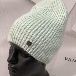 Приобрести бирюзовую женскую однотонную шапку фасона лопатка чулок в интернете
