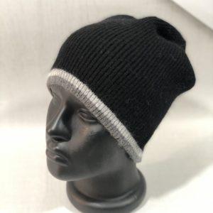 Приобрести черного цвета женскую и мужскую шерстяную шапку с полосками в интернете