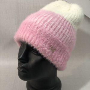Приобрести выгодно двухцветную шапку из ангоры травка для женщин розовую