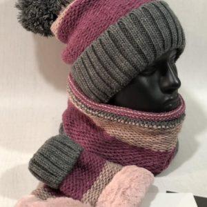 Приобрести онлайн малиновый женский зимний набор тройка: шапка, шарф и варежки