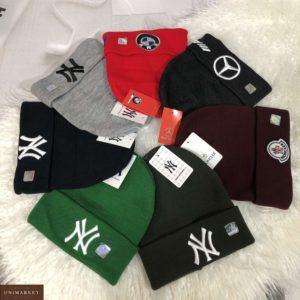 Купить онлайн шапку мужскую с подворотом и эмблемой разных цветов