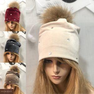 Купить выгодно женскую шапку из двойного велюра с помпоном цвета беж, мокко, бордо, серую