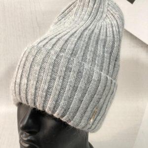 Купить выгодно серого цвета однотонную вытянутую шапку лопатка рубчик женскую