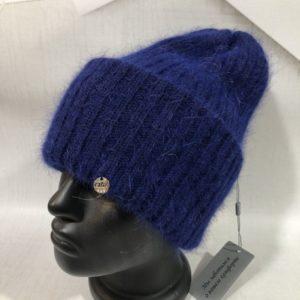 Приобрести синюю женскую пушистую шапку с двойным отворотом в Украине на подарок