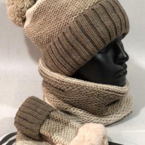 Купить выгодно коричневый зимний набор тройка: шапка, шарф и варежки для женщин