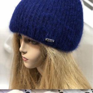 Купить голубую, синюю, пудра, желтую зимнюю пушистую шапку по скидке с высоким отворотом для женщин