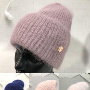 Купить пудра, синюю, сирень шапку из ангоры и шерсти женскую с широким отворотом в интернете