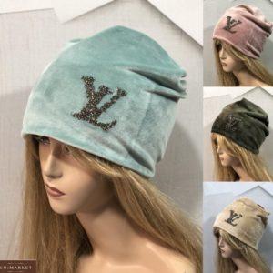 Купить голубую, беж, пудра женскую шапку из двойного велюра LV в интернете
