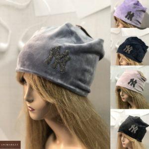 Заказать серую, пудра, синюю, черную велюровую шапку NY онлайн для женщин