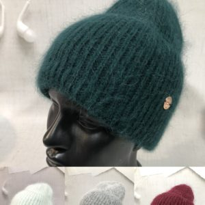 Заказать изумруд, бордо, серую, голубую шапку из ангоры женскую и шерсти с широким отворотом онлайн
