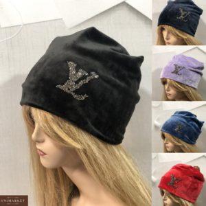 Приобрести черную, сирень, красную, синюю шапку из двойного велюра LV для женщин в интернете
