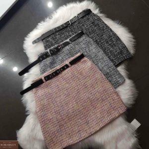 Заказать женскую юбку цвета пудра, черный, серый из шерсти коттон с люрексом онлайн