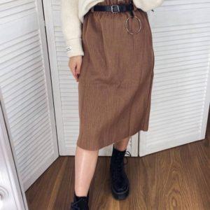 Приобрести по скидке женскую шерстяную юбку миди с поясом коричневого цвета