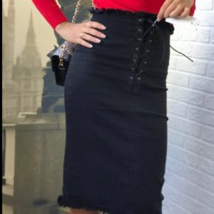 Заказать женскую черную джинсовую юбку миди с корсетной вставкой онлайн