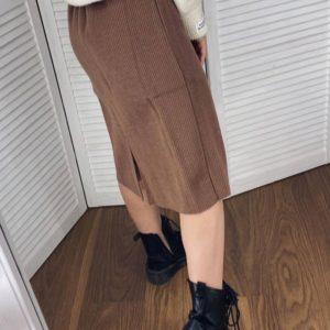 Заказать коричневую шерстяную юбку для женщин миди с поясом недорого