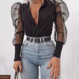Приобрести женскую блузку с объемными рукавами из органзы черного цвета по скидке