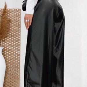 Заказать черные брюки для женщин кюлоты из эко кожи с поясом (размер 42-48) по скидке