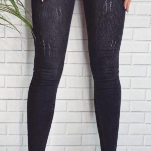 Заказать по скидке стрейчевые джинсы с царапками графит цвета для женщин недорого