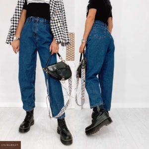 Купить синего цвета женские джинсы баллоны на высокой талии выгодно