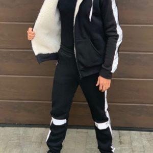 Купить черный Спортивный костюм на меху со светоотражающими вставками (размер 46-52) для мужчин недорого