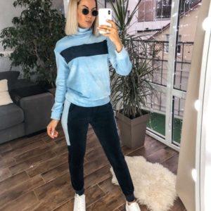 Приобрести синий костюм из велюра со свитером (размер 42-48) для женщин выгодно