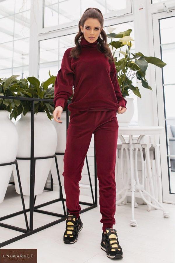 Купить бордовый женский спортивный костюм из велюра с объемными рукавами (размер 42-48) недорого