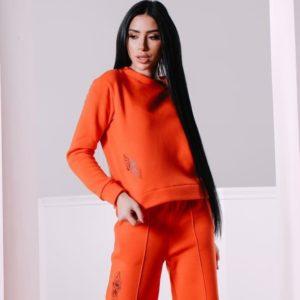 Заказать женский прогулочный костюм оранжевого цвета со свитшотом из трехнитки на флисе недорого