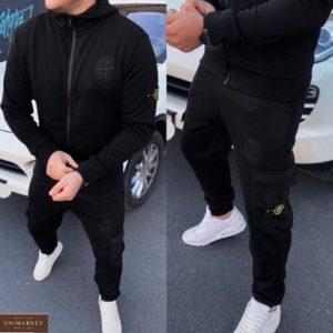 Заказать черный спортивный мужской костюм на флисе stone island (размер 46-54) по скидке