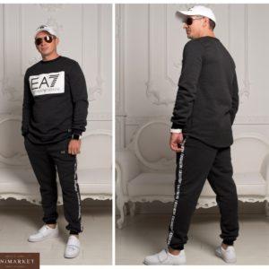 Заказать графит теплый мужской спортивный костюм EA7 со свитшотом недорого