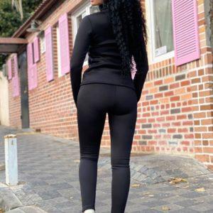 Заказать черный костюм женский на меху: лосины+гольф (размер 42-52) онлайн