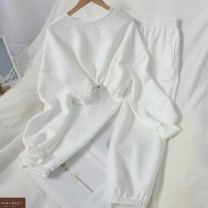 Заказать белого цвета женский прогулочный костюм из стеганного трикотажа онлайн
