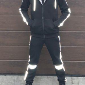 Заказать по скидке Спортивный костюм на меху со светоотражающими вставками (размер 46-52) для мужчин черного цвета