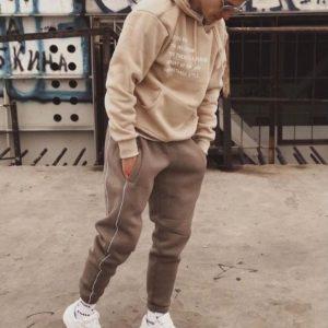 Приобрести онлайн мужской стильный прогулочный костюм на флисе (размер 46-54) бежевый