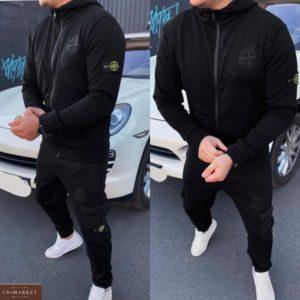 Приобрести на зиму мужской спортивный костюм на флисе stone island (размер 46-54) черного цвета по низким ценам