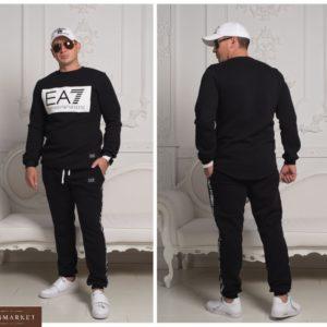 Купить на зиму теплый спортивный костюм EA7 со свитшотом мужской по низким ценам черный