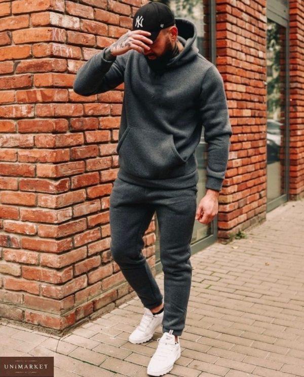 Заказать дешево базовый спортивный костюм на флисе (размер 48-52) для мужчин цвета графит
