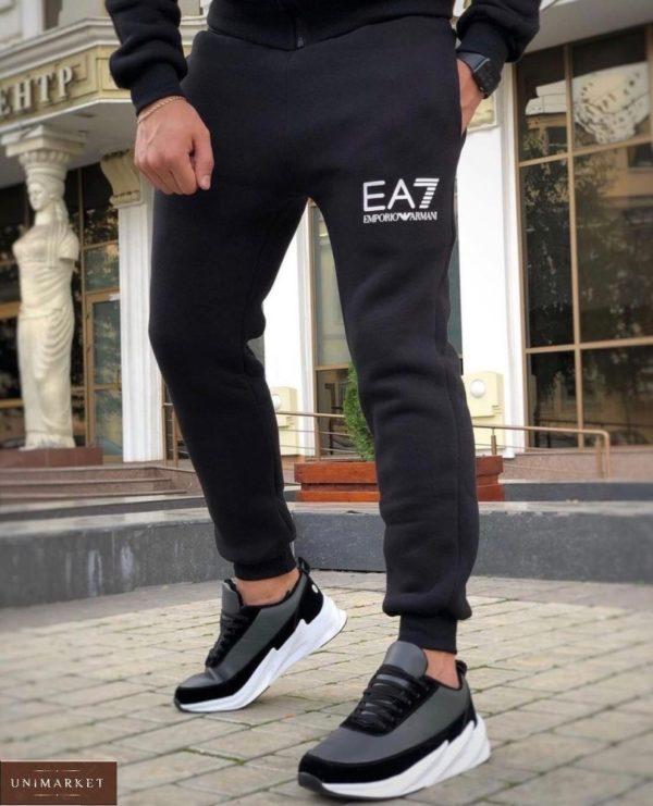 Приобрести черный спортивный костюм EA7 из трехнити на флисе (размер 48-52) для мужчин онлайн