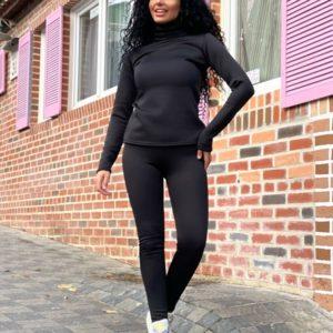 Купить по скидке женский костюм на меху: лосины+гольф (размер 42-52) черного цвета