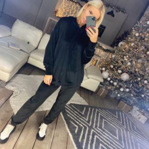 Купить черный спортивный костюм с капюшоном из турецкого велюра по низким ценам для женщин
