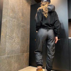 Заказать женский черный тёплый флисовый костюм на зиму онлайн