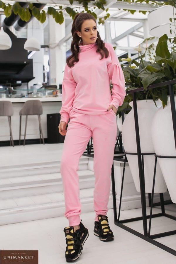 Заказать розовый спортивный костюм из велюра с объемными рукавами (размер 42-48) для женщин онлайн